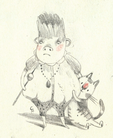Fat monkey and his cat