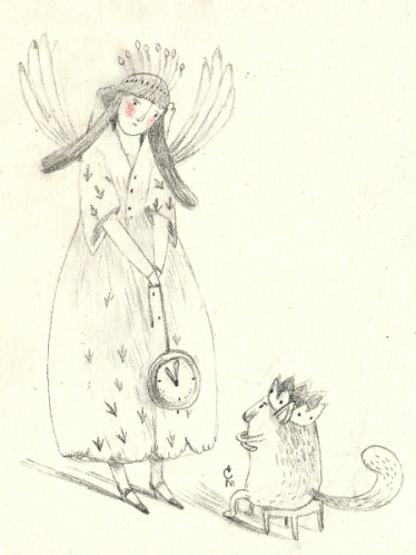 clock, fairy and king cat