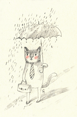 cat under umbrella on a rainy day